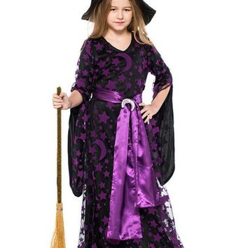 Halloween Siren Stage Star-moon Printed Witch Dresses