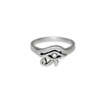 Silver Eye of Horus Ring, Solid 925 Sterling Silver Ring, Egyptian Protection Jewelry