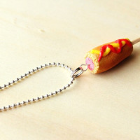 Corn Dog Polymer Clay Necklace or Earrings