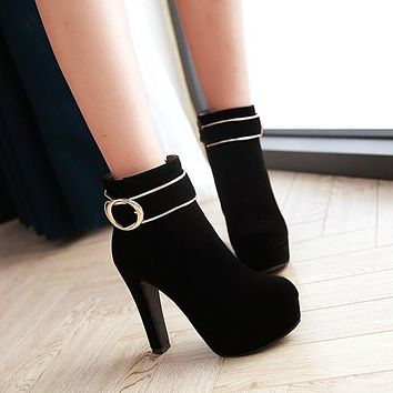 Women High Heels Platform Ankle Boots Buckle Shoes Woman