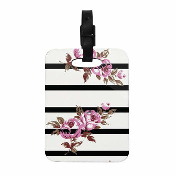 "NL Designs ""Purple Floral Stripes"" Black White Decorative Luggage Tag"