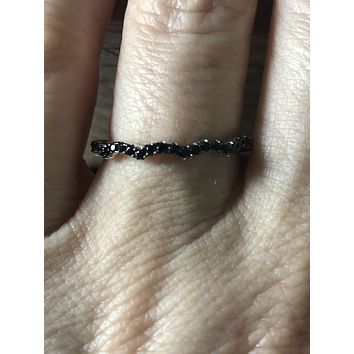 0.44CTW Genuine Black Diamond Stacking Wedding Band Ring