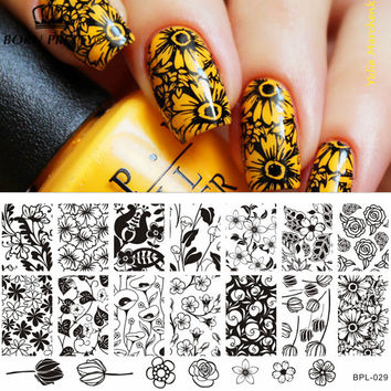 Flower Theme Nail Art Stamp Template Image Plate Rctangular Stamping PLates  12 x 6cm