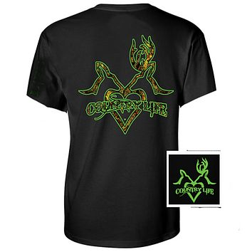 Sale Country Life Outfitters Black & Green Deer Kiss Heart Love Hunt Vintage Unisex Bright T Shirt