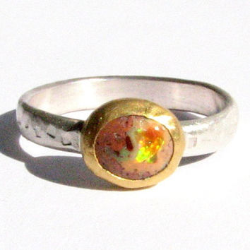 Natural Mexican Opal Ring - 24k Solid Gold and Silver Ring - Gemstone Ring.