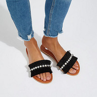 Black fringe embellished sandals - Sandals - Shoes & Boots - women