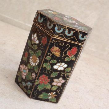 Cloisonne Trinket Box Jewelry Storage Hexagonal Floral Vintage 082517CM
