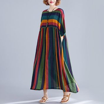 Johnature Casual Loose Patchwork Summer Dress Pockets Batwing Sleeve O-neck 2019 New Clothes Striped Korea Style Women Dress