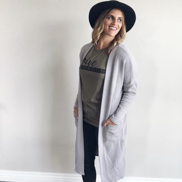 Fall duster with pockets