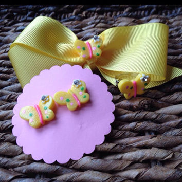 Yellow Butterfly Hair Bow Set Matching Earrings Ring