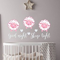 "Sheep Wall Decals Quote Good Night Sleep Tight Full Color Murals Sheep Vinyl Sticker Nursery Decal Kids Room Bedroom Home Decor NS2054 (28"" Tall x 53"" Wide)"