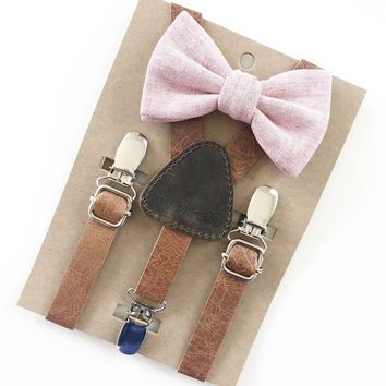 Rose Pink Baby & Toddler Bow Tie w/Leather Suspenders
