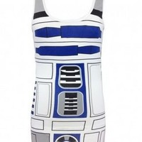 Star Wars R2-D2 Robot Juniors White Costume Tank Top Shirt - Star Wars - | TV Store Online