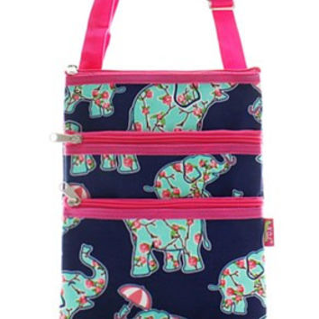 Elephant & Umbrella Print Messenger Bag - 2 Color Choices
