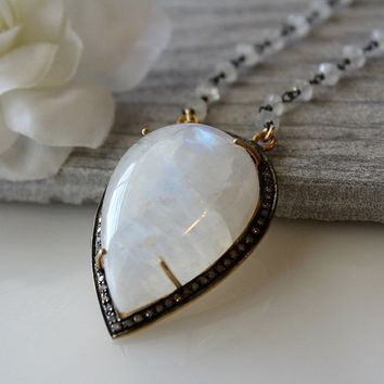 Huge Moostone Pendant Necklace, Large Rainbow Moonstone, Gold Vermeil, Oxidized Sterling Silver, Mix Metals, Statement Necklace