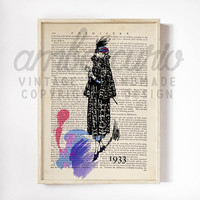 Vintage Fashion Sketch, 1933 Art Deco, Stylized Purple Paint Splash Print on an Antique Unframed Upcycled Bookpage