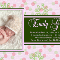Birth Announcement, Baby Girl Announcement, Digital Birth Announcement, Printable Announcement, Photo Announcement (BP3)