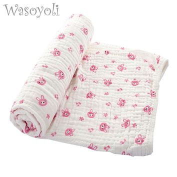 Wasoyoli Baby Swaddles 70*150cm 100% Seersucker Muslin Cotton 6 Layers Newborn Baby Quilt Blankets Soft Bath Hold Wraps