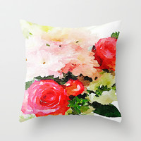 Garden Roses Watercolor Throw Pillow by The Artwerks | Society6