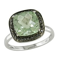 2 5/8 Carat Green Amethyst and 1/10 Carat Black Diamond Fashion Ring in 10k White Gold