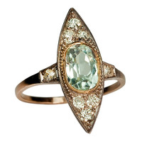 Art Deco Russian Aquamarine Diamond Ring