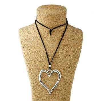 1pcs Silver Lagenlook Large Abstract Alloy Heart Pendant Colar Long Suede Leather Necklace Fashion Jewelry For Woman&Men