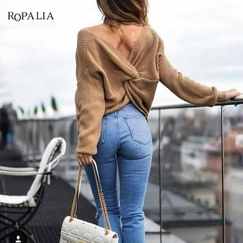 Sexy 2018 New 7 colors V Neck Twisted Back Sweater Women Jumpers Pullovers Casual Tops Long Sleeve Knitted Sweaters pull femme