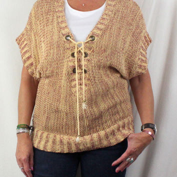 Cute Free People Sweater L size Red Wheat Boho Hippy Cotton Blend Tie Front