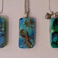 Ocean Necklaces, Domino Necklaces, Altered Domino, Altered Art Domino, Beach Art Jewelry, Recycled Domino, Upcycled Domino, Domino Jewelry