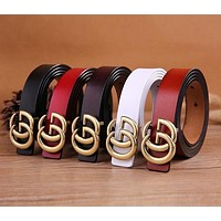 GUCCI Popular Women Men Simple Letter Logo Smooth Buckle Leather Belt+Best Gift I11932-1
