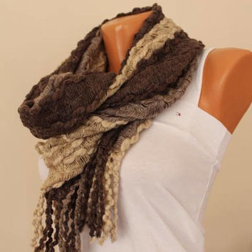 EXPRESS SHIPPING ! Unique scarf-Long scarf-Brown beige scarf-Holiday fashion-Ruffled scarf-chunky scarf-İnfinity scarfs-Christmas gift