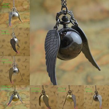 Wing Ball Quartz Pocket Watch Fob Necklace