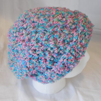 Slouchy Hat Crochet Beanie - Winter Womens Hat - Blue with Pink and Green - Handmade Crochet - Reduced - Clearance - Ready to Ship