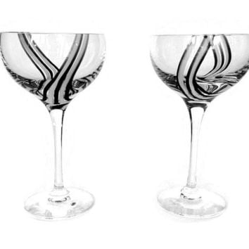 Caithness Panache Midnight Wine Glasses, Set of Two, Crystal Stemware, Black, White