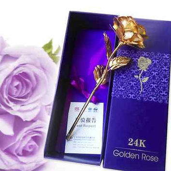 Valentine's day Birthday Wedding Gift 24k Gold Foil Plated Rose Lover's Gold