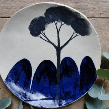 Indigo blue stoneware side plate - hand painted plate, Australian Ceramics  Australian made, made to order, Pottery Hand made plate Homeware