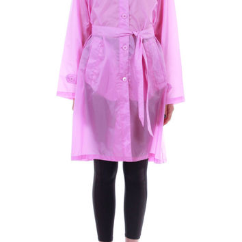 90s Vintage Pink Nylon Raincoat Mid Length Semi Sheer Belted Hooded Trench Coat Cuber Futuristic Winter Clothing Womens Size Medium Large