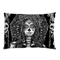 Day of the Dead Pillow Case 20 by 30 Bedding Dia de los muertos Black and white gothic rockabilly tattoo home decor sham