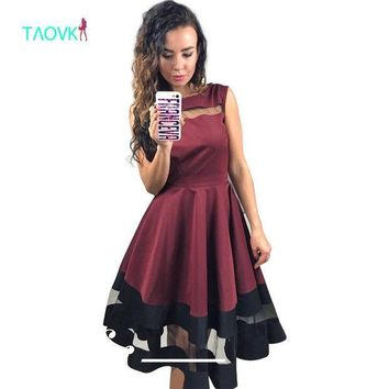 CREYONHS TAOVK 2016 new fashion Russian style Women Red wine color dress sleeveless High waist large Swing dress