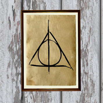 Antique Harry potter poster Deathly hallows print Fantasy illustration 8.3 x 11.7 inches