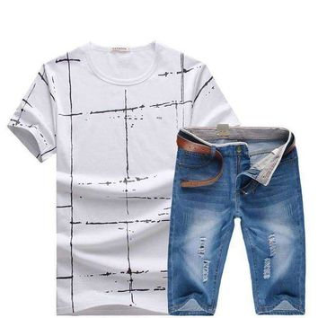 ICIKON3 HCXY 2017 summer Tops  and Denim shorts 2 pieces set Brand Clothing  shorts Men Homme printing Sportswear Set Men shorts Set