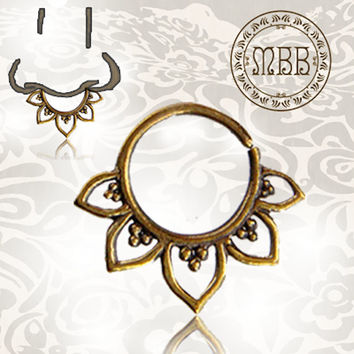 "Ornate 16g (1.2mm) Antiqued Lotus Flower Tribal Brass Septum Nose Piercing 3/8"" ring diameter 9mm 16mm length Brass filigree"