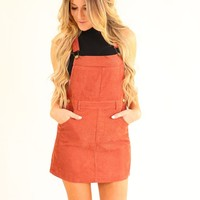 MOON CHILD OVERALL DRESS- RUST