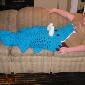 Crochet Dragon Blanket, Cocoon Leg Warmer, Crochet Mythological Dragon Blanket , Eaten by a Dragon blanket, Knit Dragon blanket