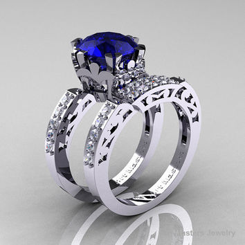 Modern Renaissance 14K White Gold 3.0 Carat Blue Sapphire Diamond Solitaire Ring, Wedding Band Set R402S-14KWGDBS