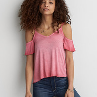 AEO Soft & Sexy Cold Shoulder T-Shirt , Blush