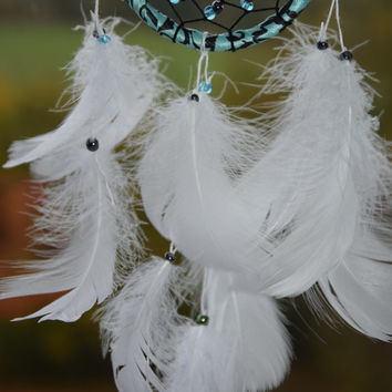Small White Car Dream Catcher, Car Accessory, Dream Catcher Decor, Rear View Mirror Charm, Gift For Men Women Girls