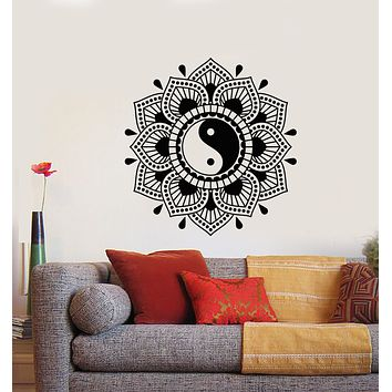 Vinyl Wall Decal Mandala Lotus Flower Yin Yang Symbol Buddhism Stickers (3167ig)