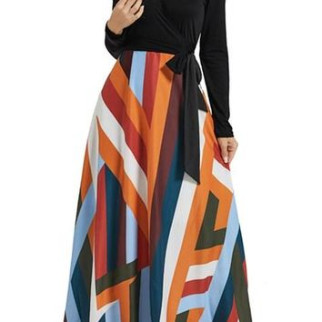 Fashion Black Long Sleeve Striped Skirt Maxi Dress