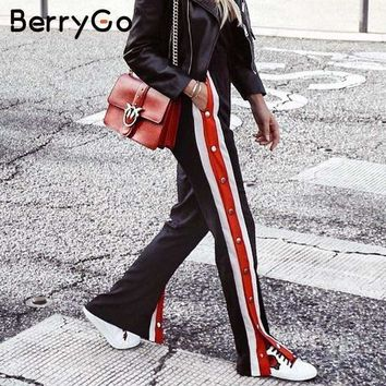 BerryGo Split red stripe casual pants women bottom Button loose trousers female pants Summer style streetwear elastic capri 2018